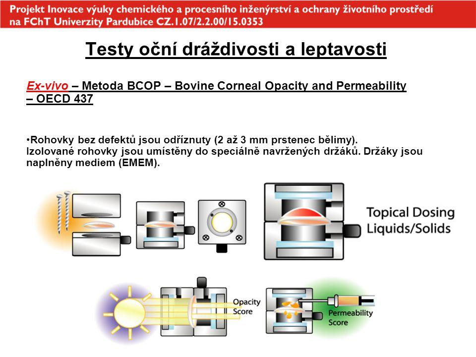Testy oční dráždivosti a leptavosti Ex-vivo – Metoda BCOP – Bovine Corneal Opacity and Permeability – OECD 437 Rohovky bez defektů jsou odříznuty (2 a