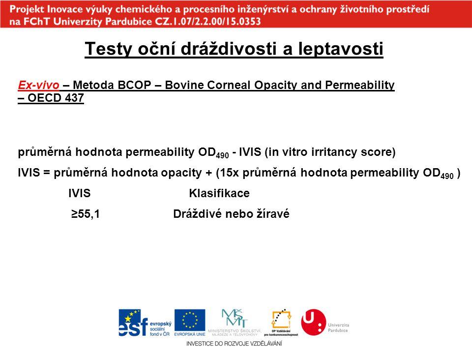 Testy oční dráždivosti a leptavosti Ex-vivo – Metoda BCOP – Bovine Corneal Opacity and Permeability – OECD 437 průměrná hodnota permeability OD 490 -