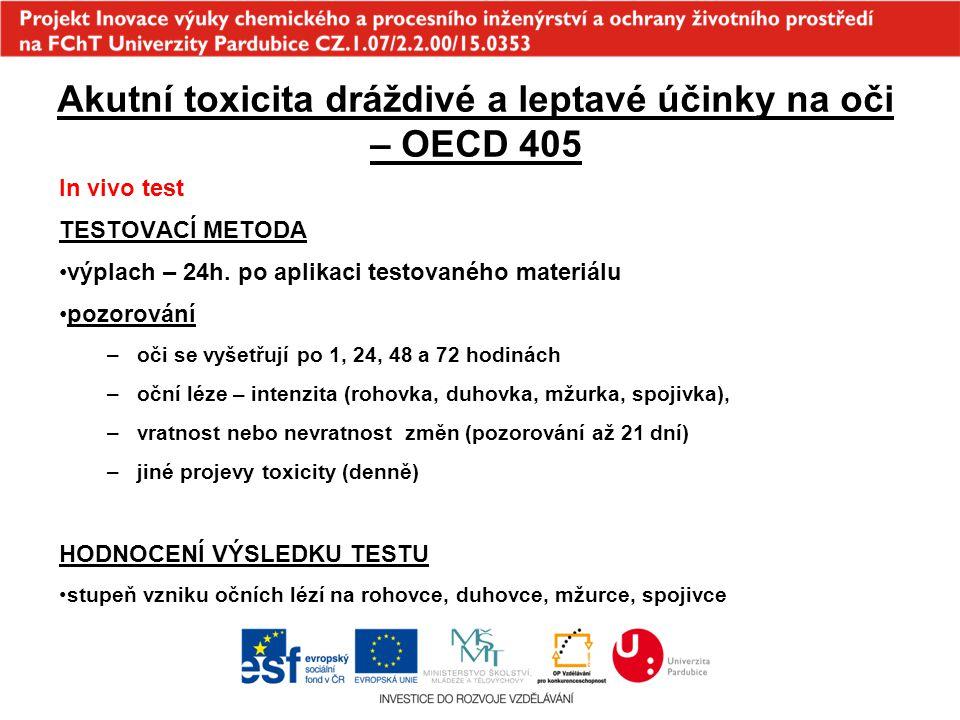 Akutní toxicita dráždivé a leptavé účinky na oči – OECD 405 In vivo test TESTOVACÍ METODA výplach – 24h. po aplikaci testovaného materiálu pozorování