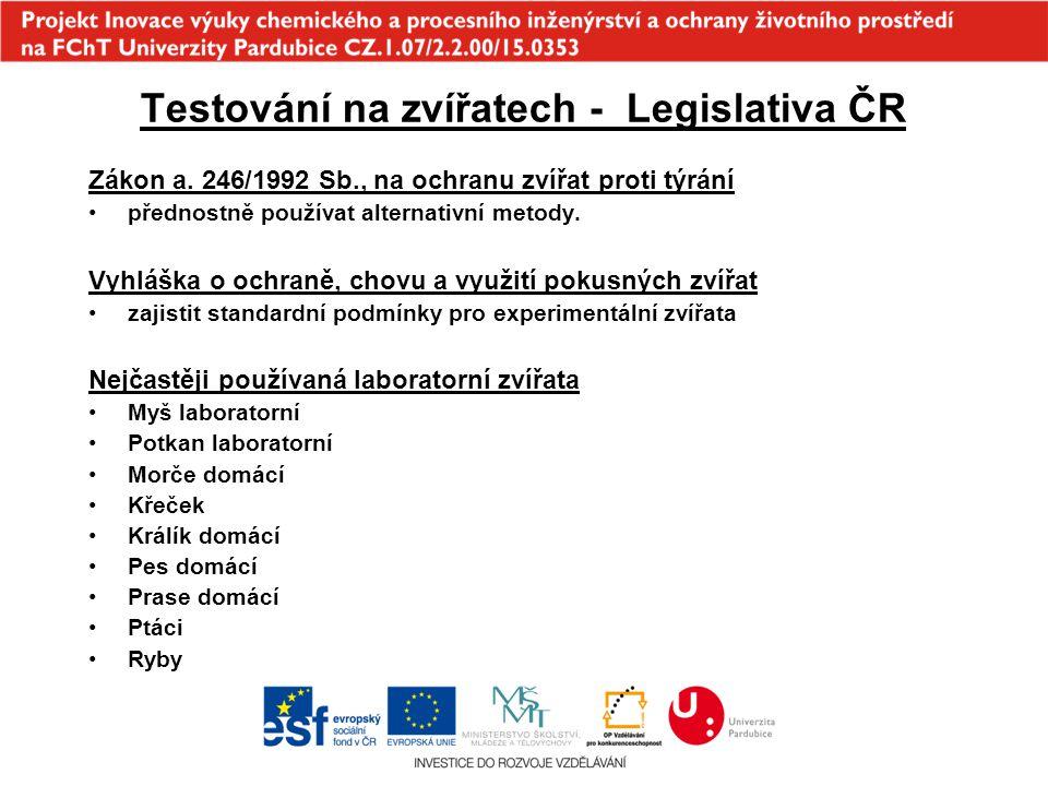 Testování na zvířatech - Legislativa ČR Zákon a. 246/1992 Sb., na ochranu zvířat proti týrání přednostně používat alternativní metody. Vyhláška o ochr