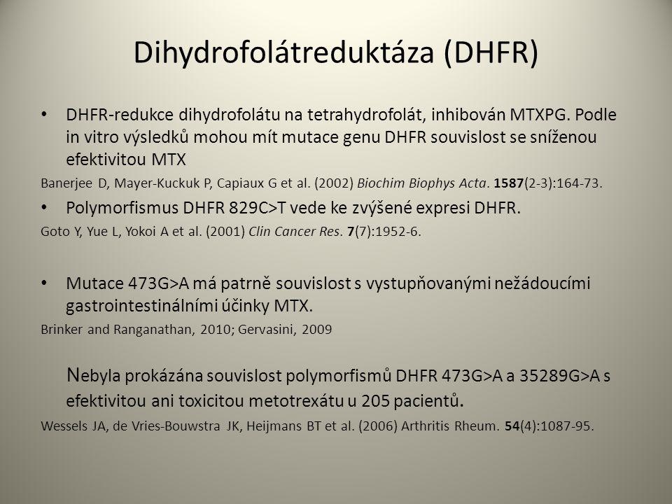 Dihydrofolátreduktáza (DHFR) DHFR-redukce dihydrofolátu na tetrahydrofolát, inhibován MTXPG.