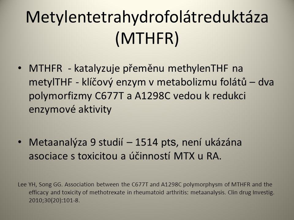 Metylentetrahydrofolátreduktáza (MTHFR) MTHFR - katalyzuje přeměnu methylenTHF na metylTHF - klíčový enzym v metabolizmu folátů – dva polymorfizmy C677T a A1298C vedou k redukci enzymové aktivity Metaanalýza 9 studií – 1514 pt s, není ukázána asociace s toxicitou a účinností MTX u RA.
