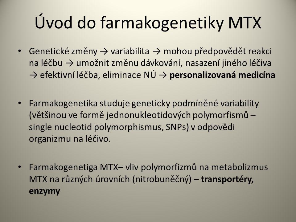 Úvod do farmakogenetiky MTX Genetické změny → variabilita → mohou předpovědět reakci na léčbu → umožnit změnu dávkování, nasazení jiného léčiva → efektivní léčba, eliminace NÚ → personalizovaná medicína Farmakogenetika studuje geneticky podmíněné variability (většinou ve formě jednonukleotidových polymorfismů – single nucleotid polymorphismus, SNPs) v odpovědi organizmu na léčivo.