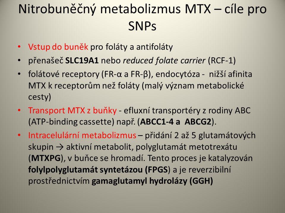 Nitrobuněčný metabolizmus MTX – cíle pro SNPs Vstup do buněk pro foláty a antifoláty přenašeč SLC19A1 nebo reduced folate carrier (RCF-1) folátové receptory (FR-α a FR-β), endocytóza - nižší afinita MTX k receptorům než foláty (malý význam metabolické cesty) Transport MTX z buňky - efluxní transportéry z rodiny ABC (ATP-binding cassette) např.