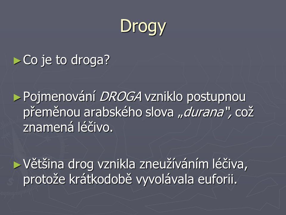 """Drogy ► Co je to droga? ► Pojmenování DROGA vzniklo postupnou přeměnou arabského slova """"durana"""", což znamená léčivo. ► Většina drog vznikla zneužívání"""