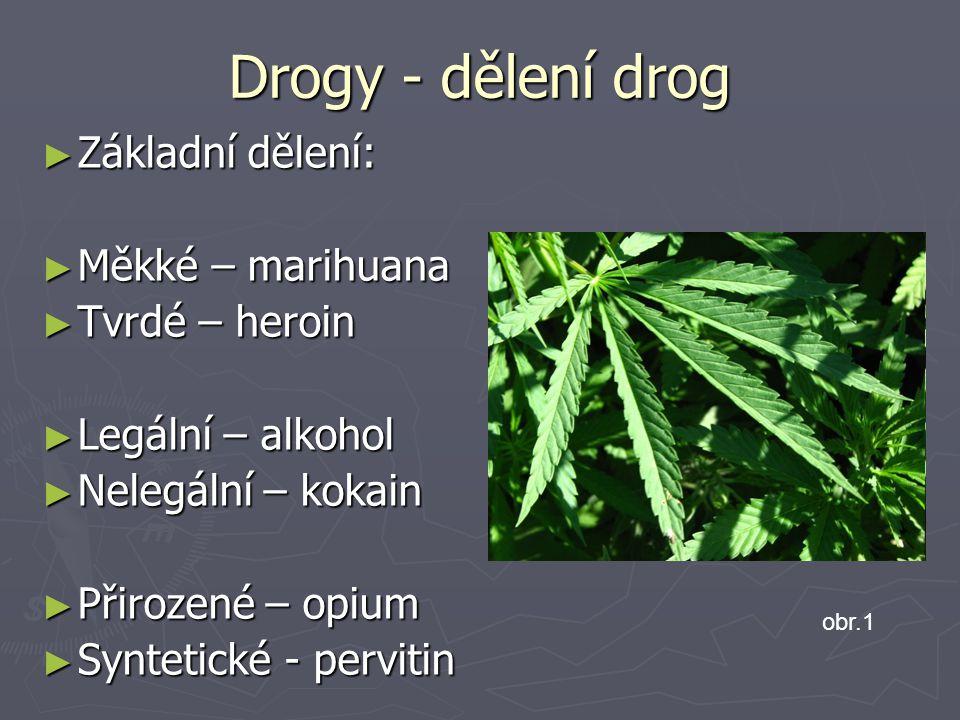 Drogy - dělení drog ► Základní dělení: ► Měkké – marihuana ► Tvrdé – heroin ► Legální – alkohol ► Nelegální – kokain ► Přirozené – opium ► Syntetické