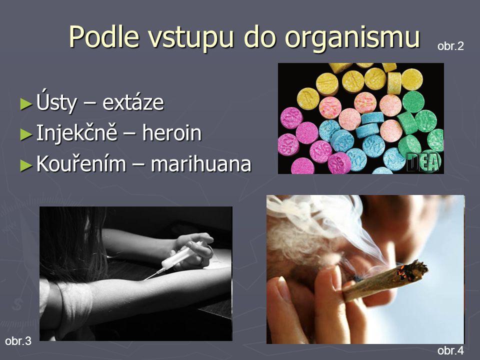 Podle vstupu do organismu Podle vstupu do organismu ► Ústy – extáze ► Injekčně – heroin ► Kouřením – marihuana obr.2 obr.4 obr.3