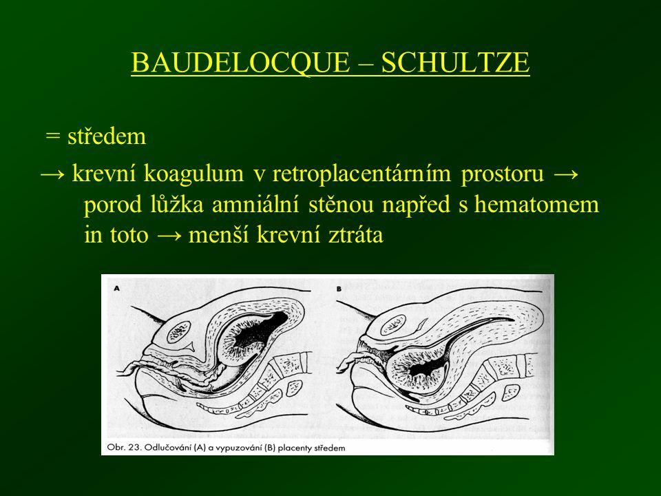 BAUDELOCQUE – SCHULTZE = středem → krevní koagulum v retroplacentárním prostoru → porod lůžka amniální stěnou napřed s hematomem in toto → menší krevn