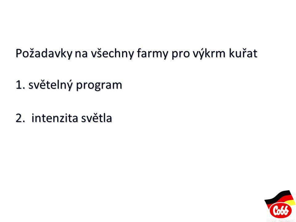 Požadavky na všechny farmy pro výkrm kuřat 1. světelný program 2. intenzita světla