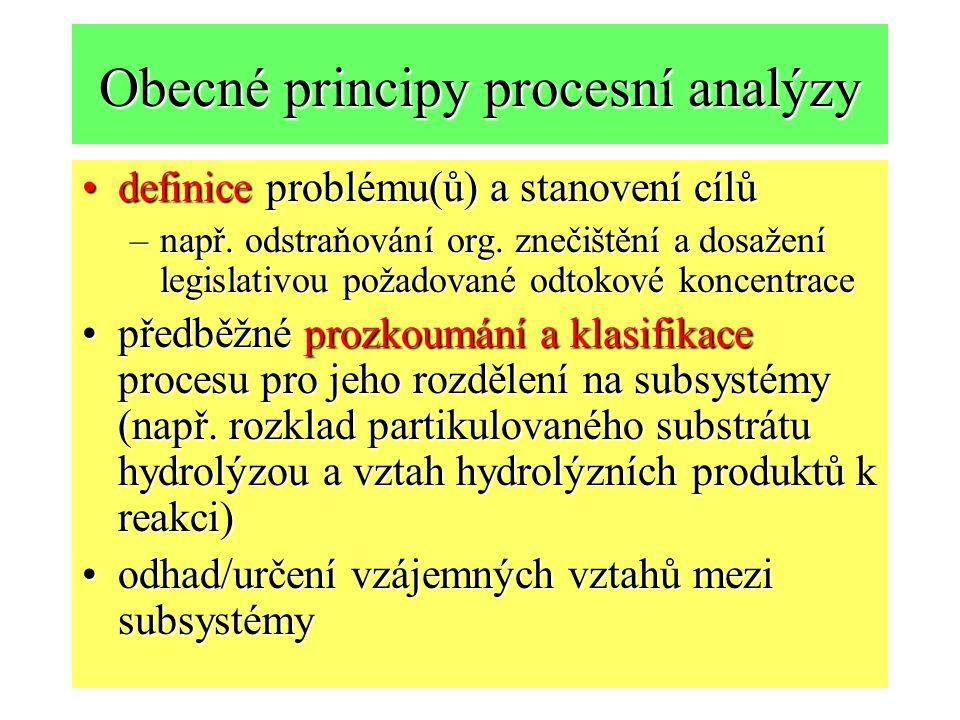 Obecné principy procesní analýzy definice problému(ů) a stanovení cílůdefinice problému(ů) a stanovení cílů –např. odstraňování org. znečištění a dosa