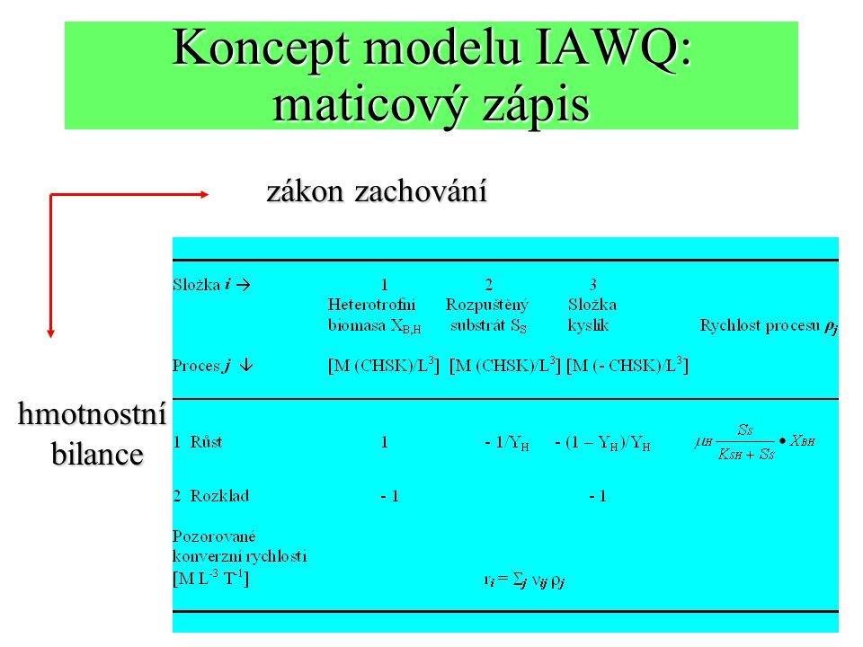 Koncept modelu IAWQ: maticový zápis zákon zachování hmotnostníbilance
