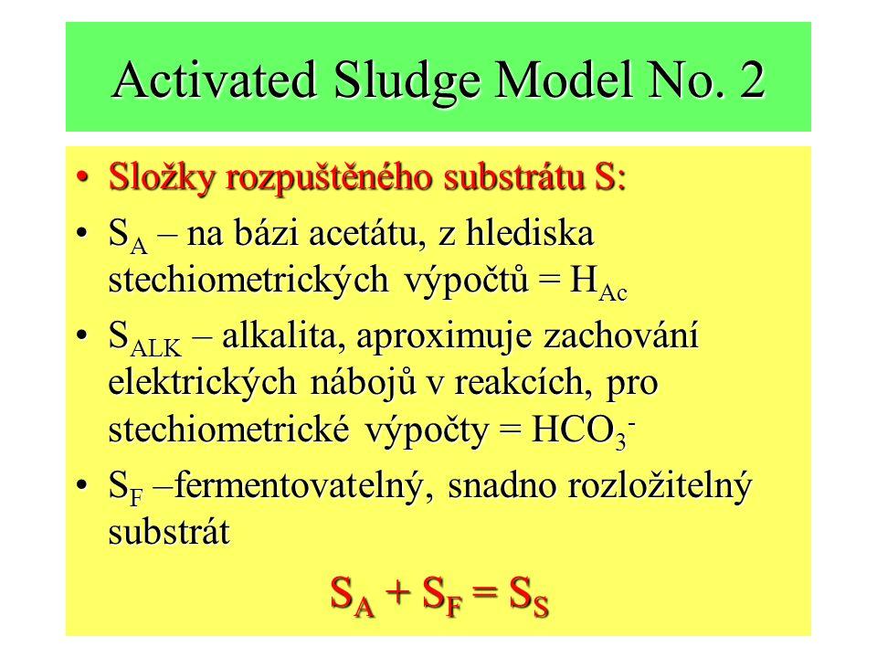 Activated Sludge Model No. 2 Složky rozpuštěného substrátu S:Složky rozpuštěného substrátu S: S A – na bázi acetátu, z hlediska stechiometrických výpo