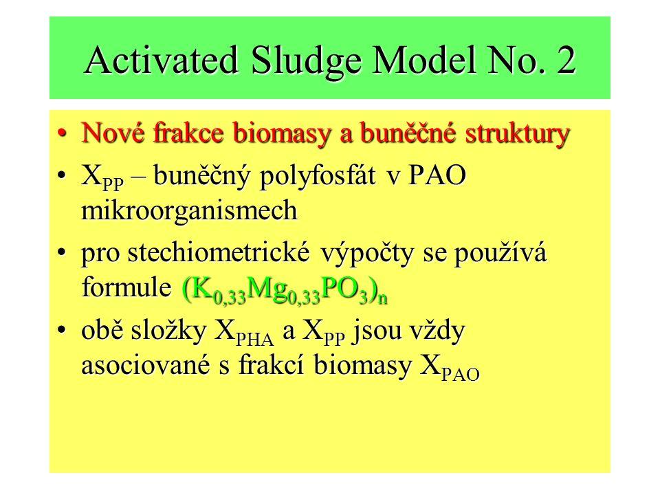 Activated Sludge Model No. 2 Nové frakce biomasy a buněčné strukturyNové frakce biomasy a buněčné struktury X PP – buněčný polyfosfát v PAO mikroorgan