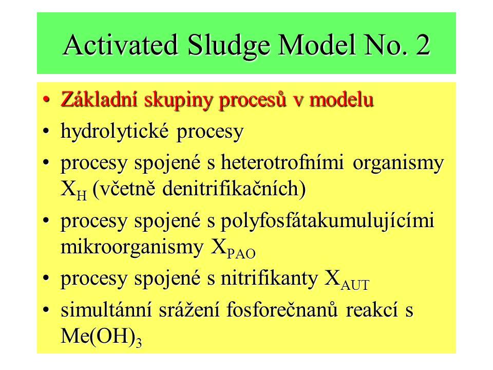 Activated Sludge Model No. 2 Základní skupiny procesů v modeluZákladní skupiny procesů v modelu hydrolytické procesyhydrolytické procesy procesy spoje