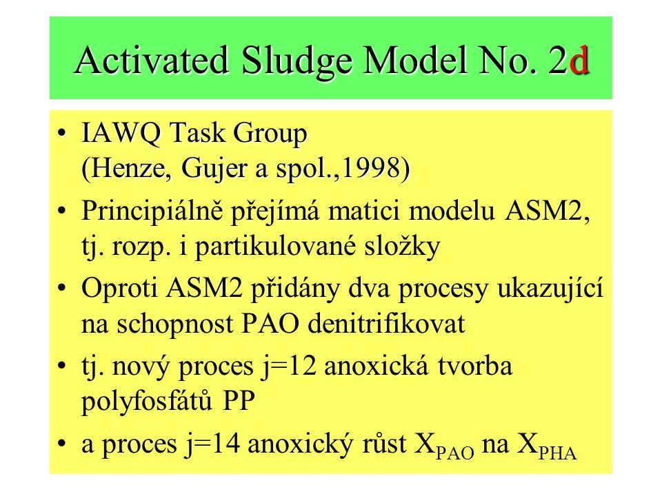 Activated Sludge Model No. 2d IAWQ Task Group (Henze, Gujer a spol.,1998)IAWQ Task Group (Henze, Gujer a spol.,1998) Principiálně přejímá matici model