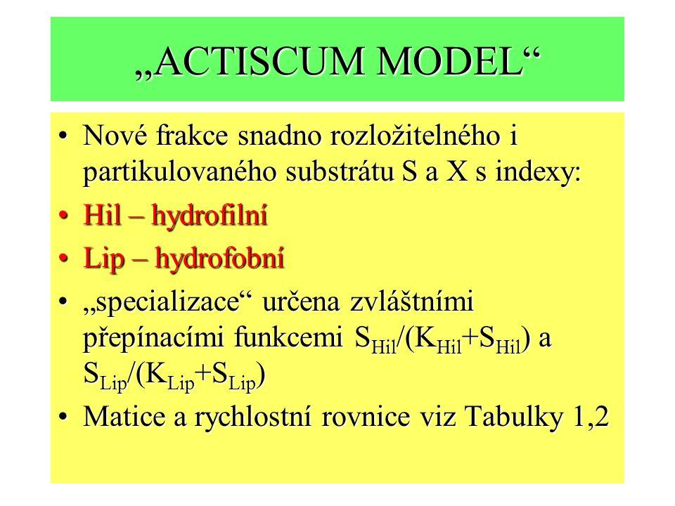 """""""ACTISCUM MODEL"""" Nové frakce snadno rozložitelného i partikulovaného substrátu S a X s indexy:Nové frakce snadno rozložitelného i partikulovaného subs"""