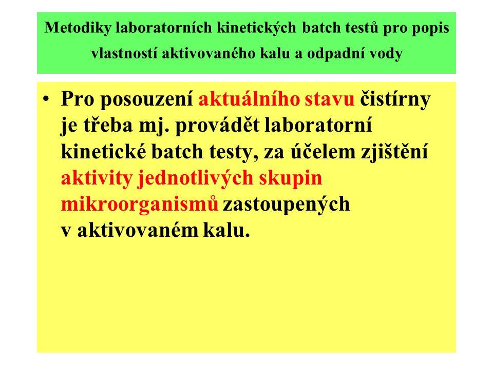 Metodiky laboratorních kinetických batch testů pro popis vlastností aktivovaného kalu a odpadní vody Pro posouzení aktuálního stavu čistírny je třeba