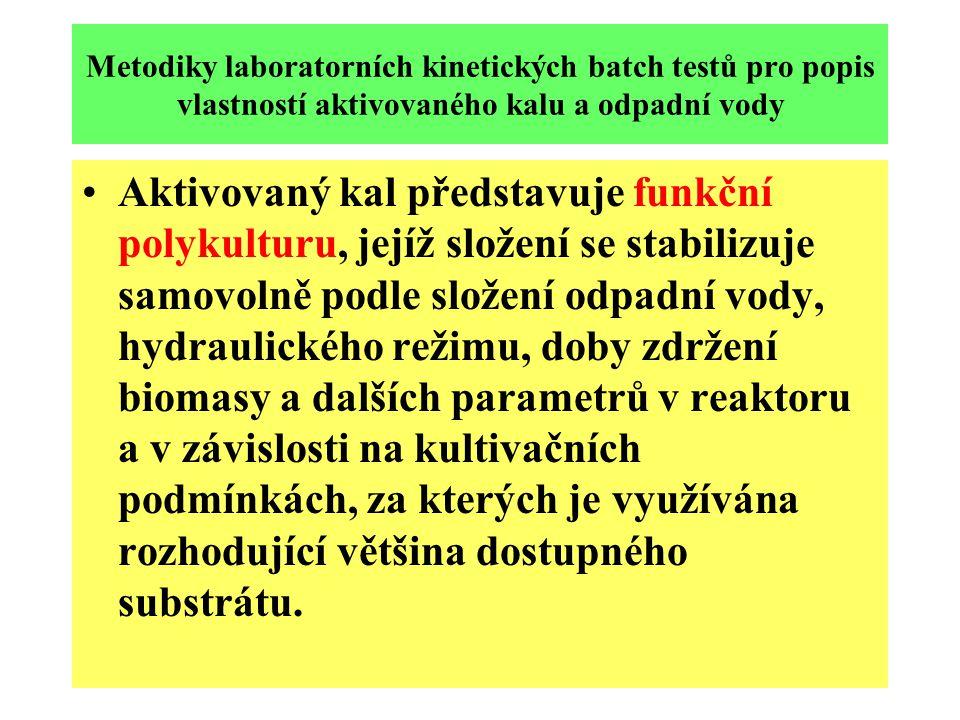 Metodiky laboratorních kinetických batch testů pro popis vlastností aktivovaného kalu a odpadní vody Aktivovaný kal představuje funkční polykulturu, j