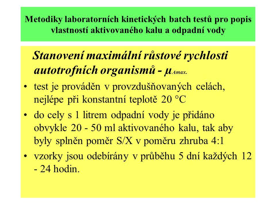 Metodiky laboratorních kinetických batch testů pro popis vlastností aktivovaného kalu a odpadní vody Stanovení maximální růstové rychlosti autotrofníc