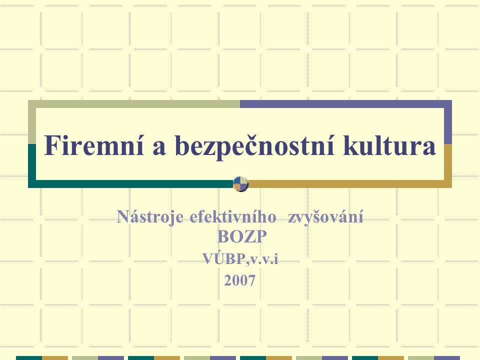 Firemní a bezpečnostní kultura Nástroje efektivního zvyšování BOZP VÚBP,v.v.i 2007