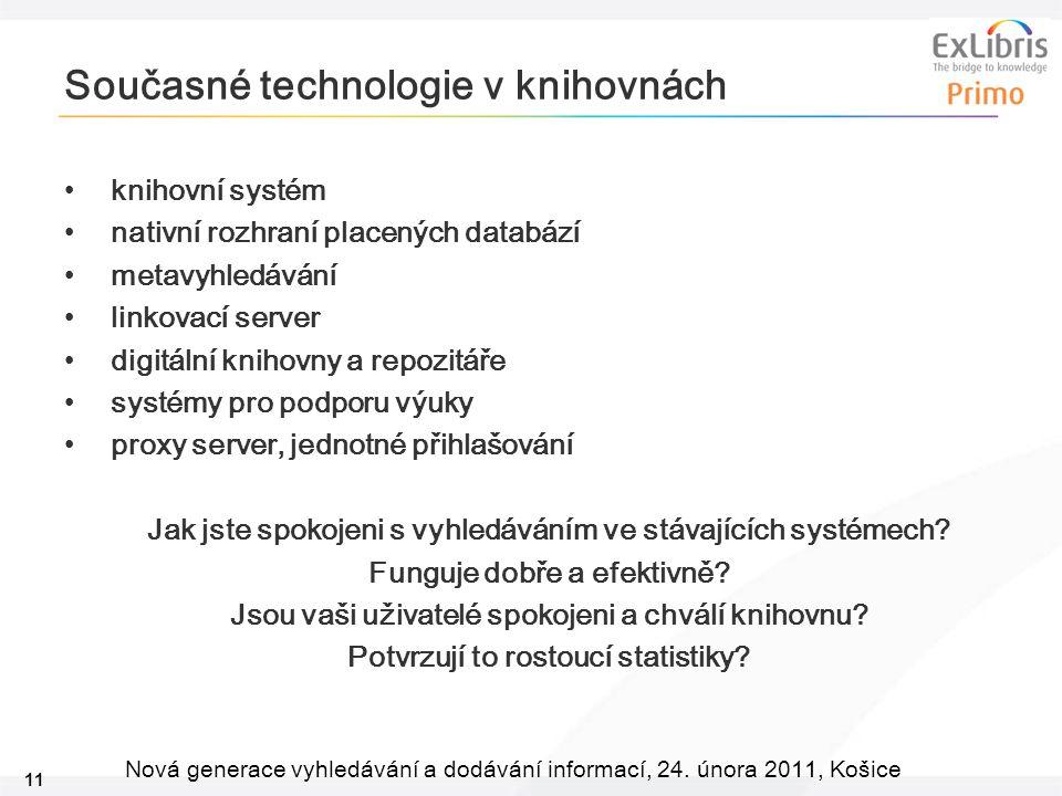 11 Nová generace vyhledávání a dodávání informací, 24. února 2011, Košice Současné technologie v knihovnách knihovní systém nativní rozhraní placených