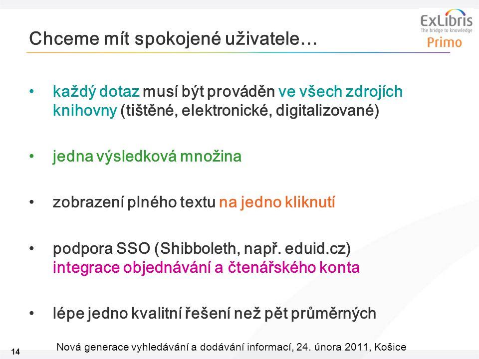 14 Nová generace vyhledávání a dodávání informací, 24. února 2011, Košice Chceme mít spokojené uživatele… každý dotaz musí být prováděn ve všech zdroj