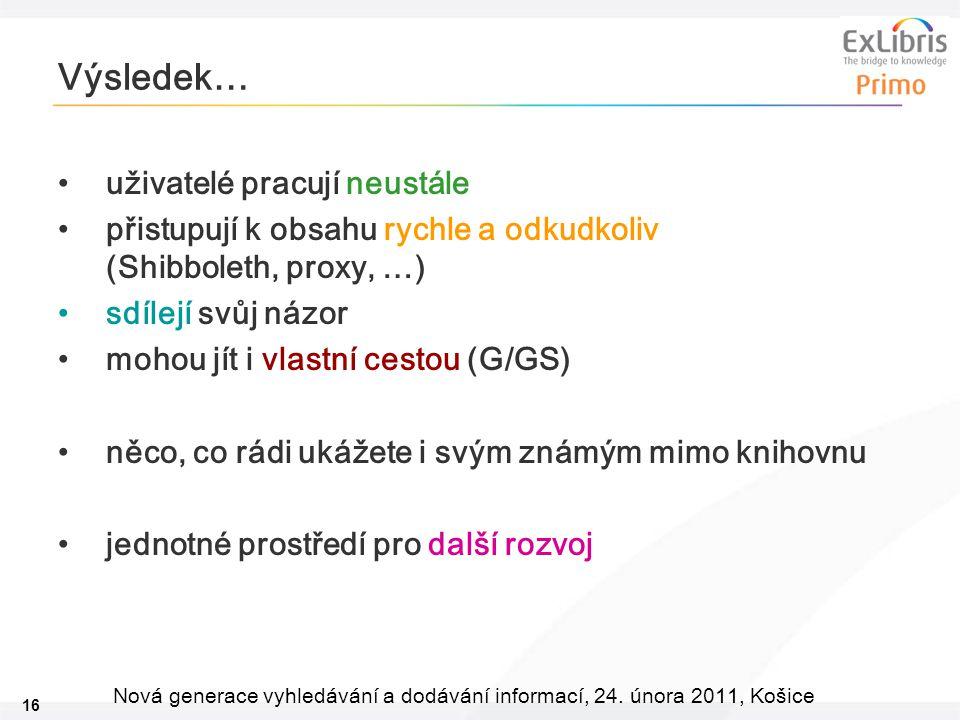 16 Nová generace vyhledávání a dodávání informací, 24. února 2011, Košice Výsledek… uživatelé pracují neustále přistupují k obsahu rychle a odkudkoliv