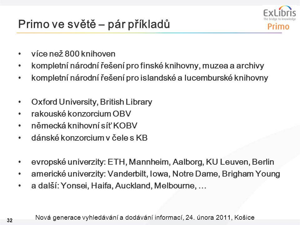32 Nová generace vyhledávání a dodávání informací, 24. února 2011, Košice Primo ve světě – pár příkladů více než 800 knihoven kompletní národní řešení
