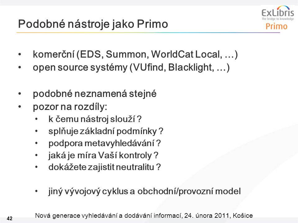 42 Nová generace vyhledávání a dodávání informací, 24. února 2011, Košice Podobné nástroje jako Primo komerční (EDS, Summon, WorldCat Local, …) open s