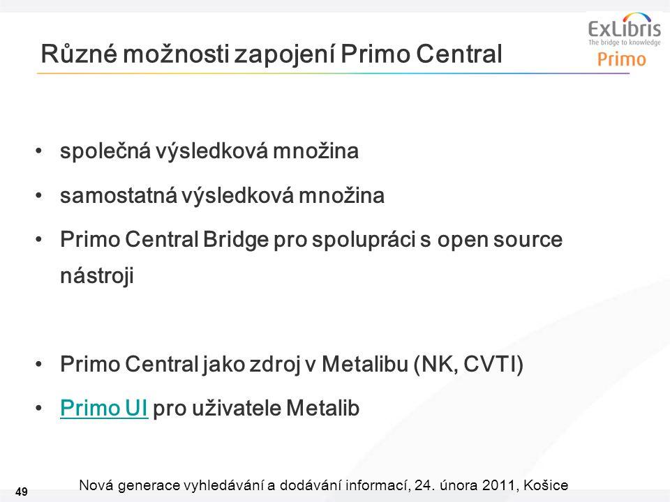 49 Nová generace vyhledávání a dodávání informací, 24. února 2011, Košice Různé možnosti zapojení Primo Central společná výsledková množina samostatná