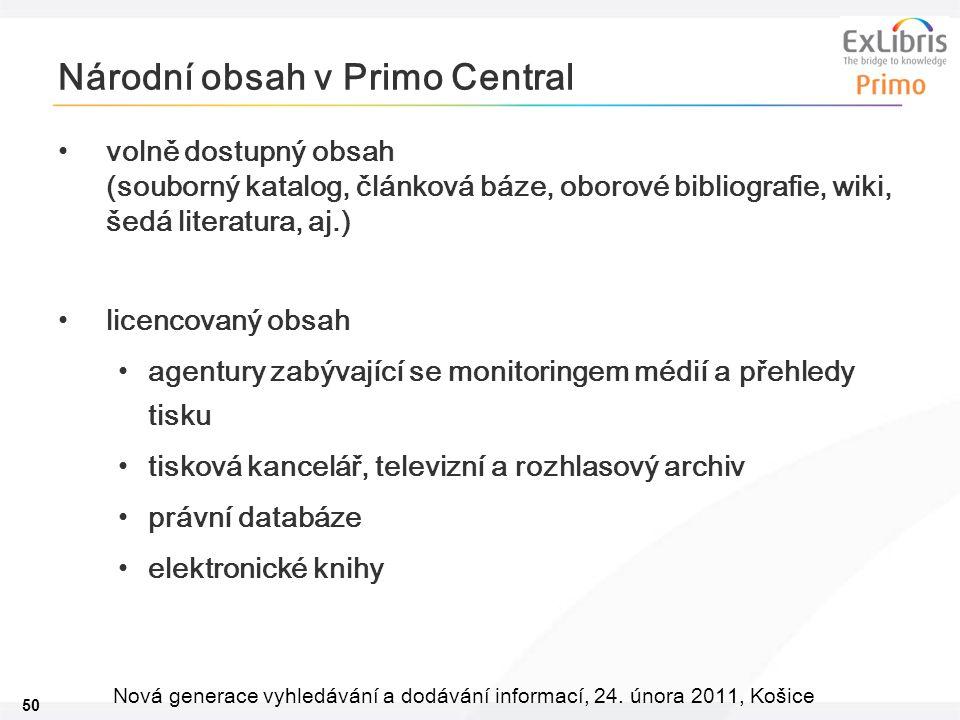 50 Nová generace vyhledávání a dodávání informací, 24. února 2011, Košice Národní obsah v Primo Central volně dostupný obsah (souborný katalog, článko