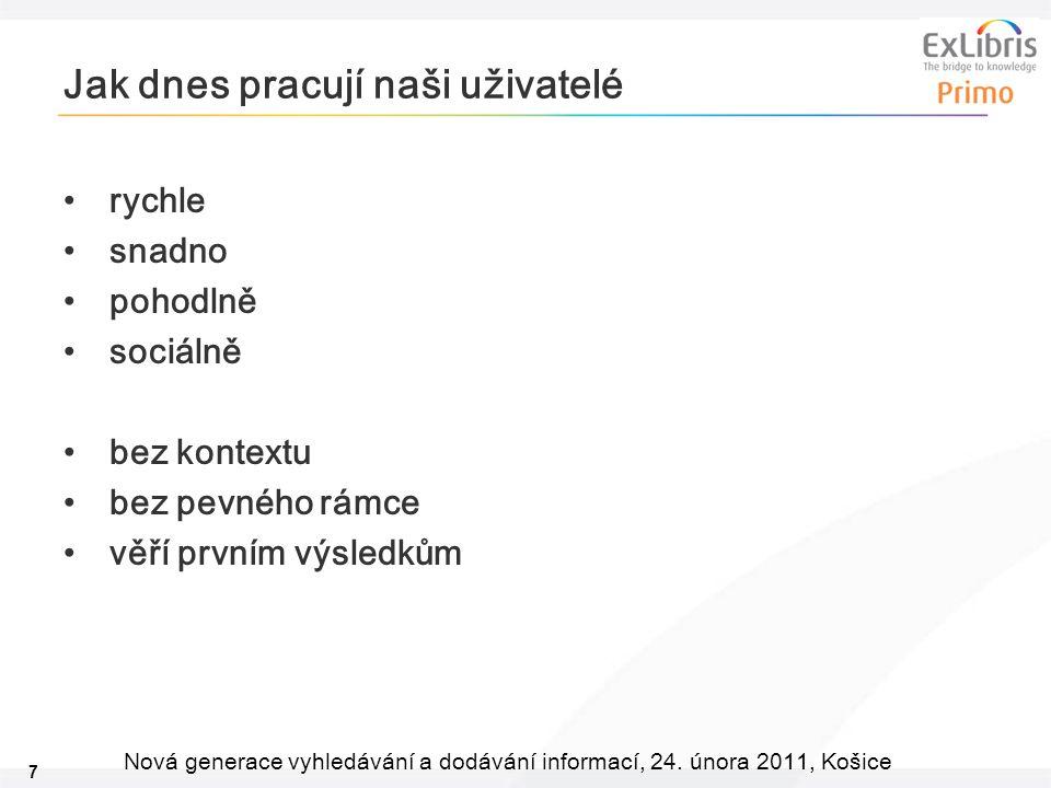 7 Nová generace vyhledávání a dodávání informací, 24. února 2011, Košice Jak dnes pracují naši uživatelé rychle snadno pohodlně sociálně bez kontextu