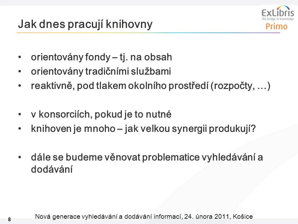 8 Nová generace vyhledávání a dodávání informací, 24. února 2011, Košice Jak dnes pracují knihovny orientovány fondy – tj. na obsah orientovány tradič
