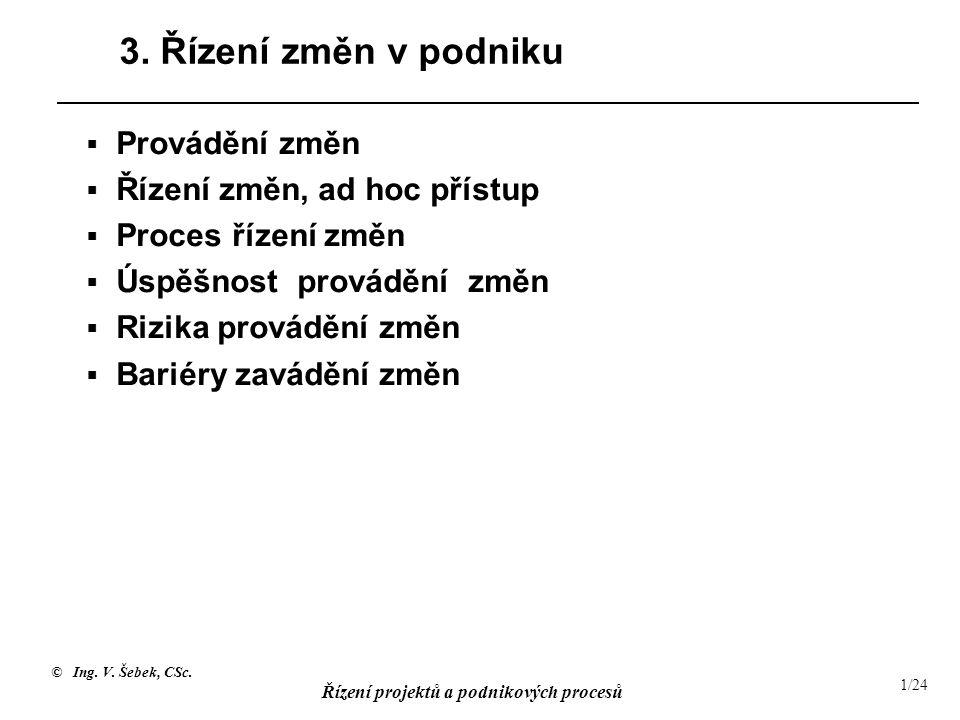 © Ing. V. Šebek, CSc. Řízení projektů a podnikových procesů 1/24 3. Řízení změn v podniku  Provádění změn  Řízení změn, ad hoc přístup  Proces říze