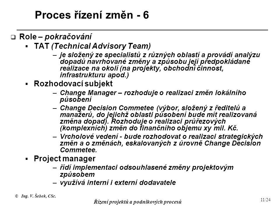 © Ing. V. Šebek, CSc. Řízení projektů a podnikových procesů 11/24 Proces řízení změn - 6  Role – pokračování  TAT (Technical Advisory Team) –je slož