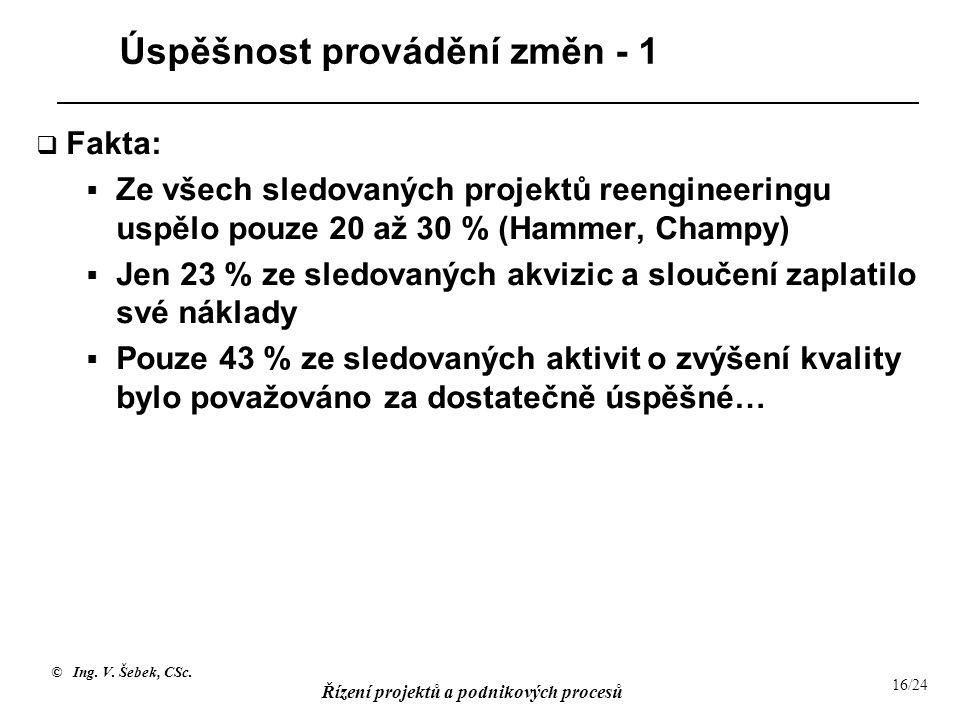 © Ing. V. Šebek, CSc. Řízení projektů a podnikových procesů 16/24 Úspěšnost provádění změn - 1  Fakta:  Ze všech sledovaných projektů reengineeringu