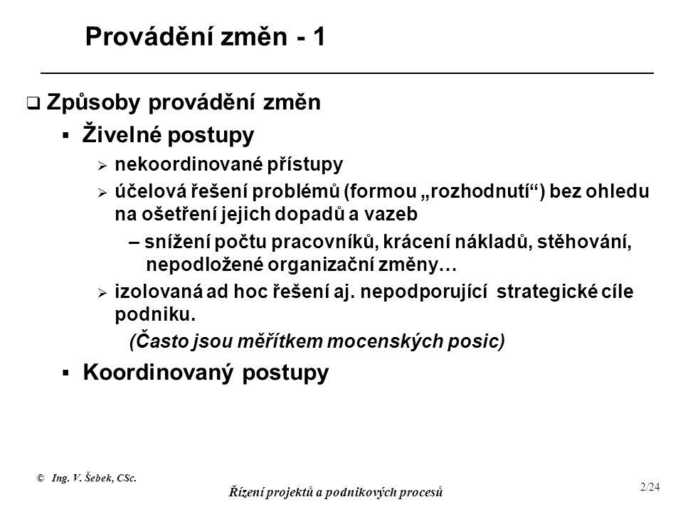 © Ing. V. Šebek, CSc. Řízení projektů a podnikových procesů 2/24 Provádění změn - 1  Způsoby provádění změn  Živelné postupy  nekoordinované přístu
