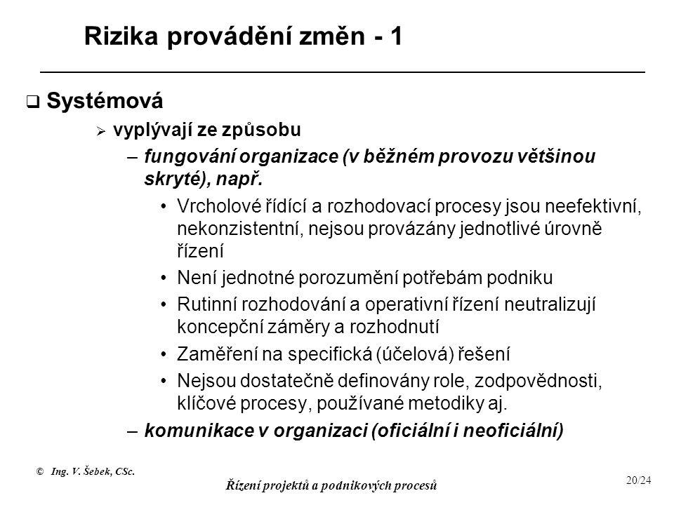 © Ing. V. Šebek, CSc. Řízení projektů a podnikových procesů 20/24 Rizika provádění změn - 1  Systémová  vyplývají ze způsobu –fungování organizace (