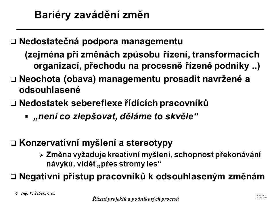 © Ing. V. Šebek, CSc. Řízení projektů a podnikových procesů 23/24 Bariéry zavádění změn  Nedostatečná podpora managementu (zejména při změnách způsob