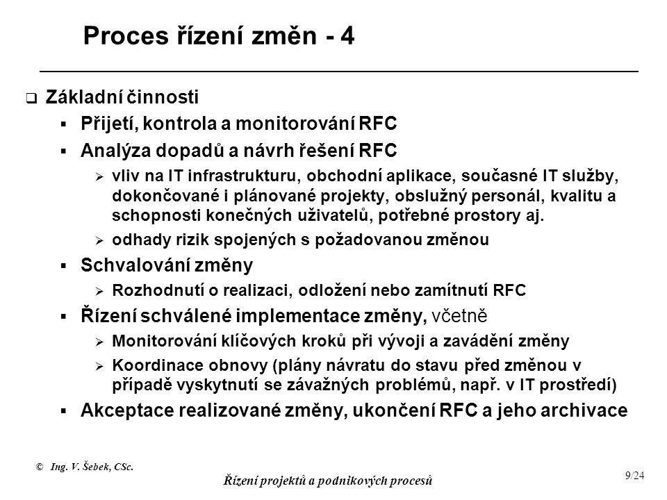 © Ing. V. Šebek, CSc. Řízení projektů a podnikových procesů 9/24 Proces řízení změn - 4  Základní činnosti  Přijetí, kontrola a monitorování RFC  A