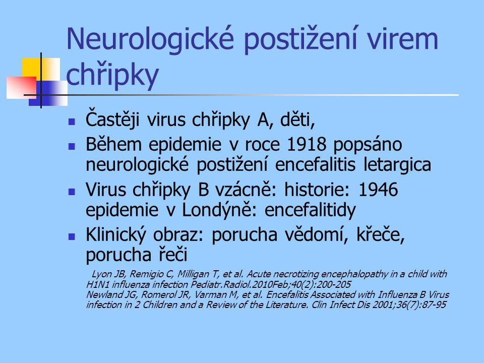 Neurologické postižení virem chřipky Častěji virus chřipky A, děti, Během epidemie v roce 1918 popsáno neurologické postižení encefalitis letargica Vi