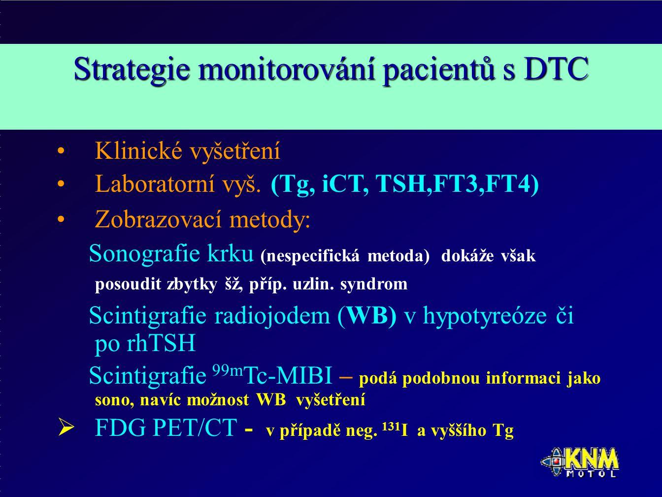 Strategie monitorování pacientů s DTC Klinické vyšetření Laboratorní vyš.