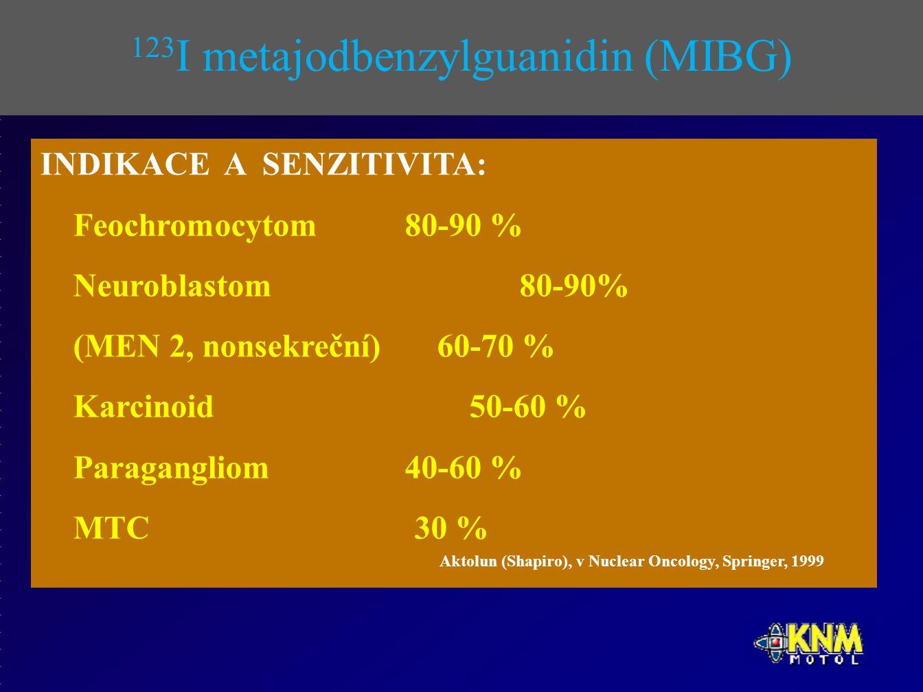 123 I metajodbenzylguanidin (MIBG) INDIKACE A SENZITIVITA: Feochromocytom 80-90 % Neuroblastom 80-90% (MEN 2, nonsekreční) 60-70 % Karcinoid 50-60 % Paragangliom 40-60 % MTC 30 % Aktolun (Shapiro), v Nuclear Oncology, Springer, 1999