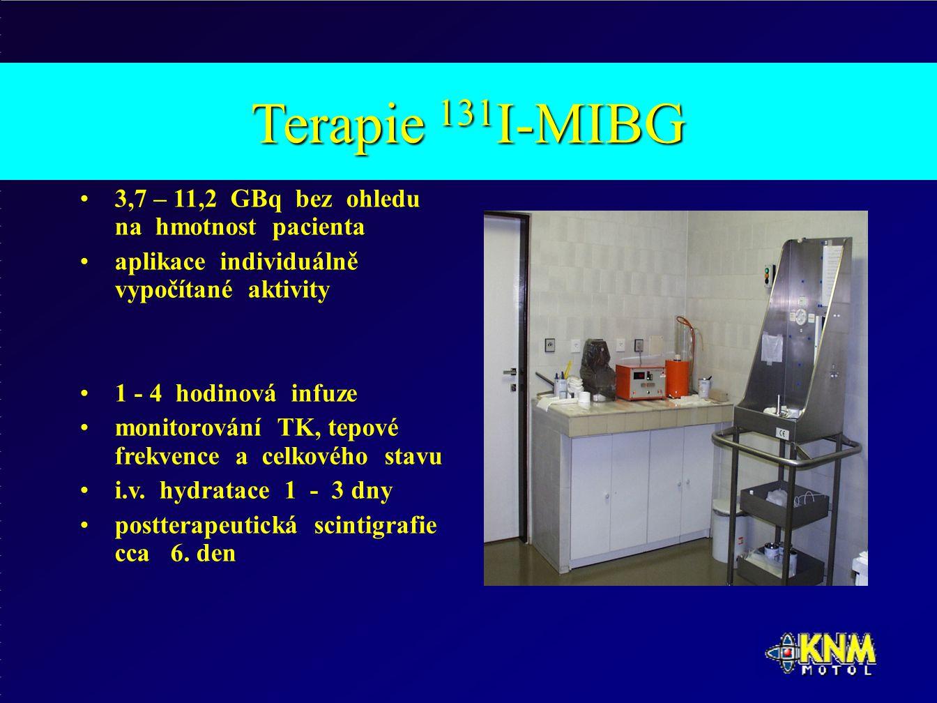 Terapie 131 I-MIBG 3,7 – 11,2 GBq bez ohledu na hmotnost pacienta aplikace individuálně vypočítané aktivity 1 - 4 hodinová infuze monitorování TK, tepové frekvence a celkového stavu i.v.