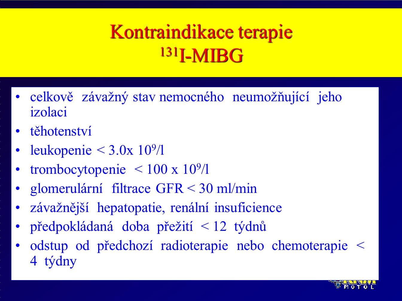 Kontraindikace terapie 131 I-MIBG celkově závažný stav nemocného neumožňující jeho izolaci těhotenství leukopenie < 3.0x 10 9 /l trombocytopenie < 100 x 10 9 /l glomerulární filtrace GFR < 30 ml/min závažnější hepatopatie, renální insuficience předpokládaná doba přežití < 12 týdnů odstup od předchozí radioterapie nebo chemoterapie < 4 týdny