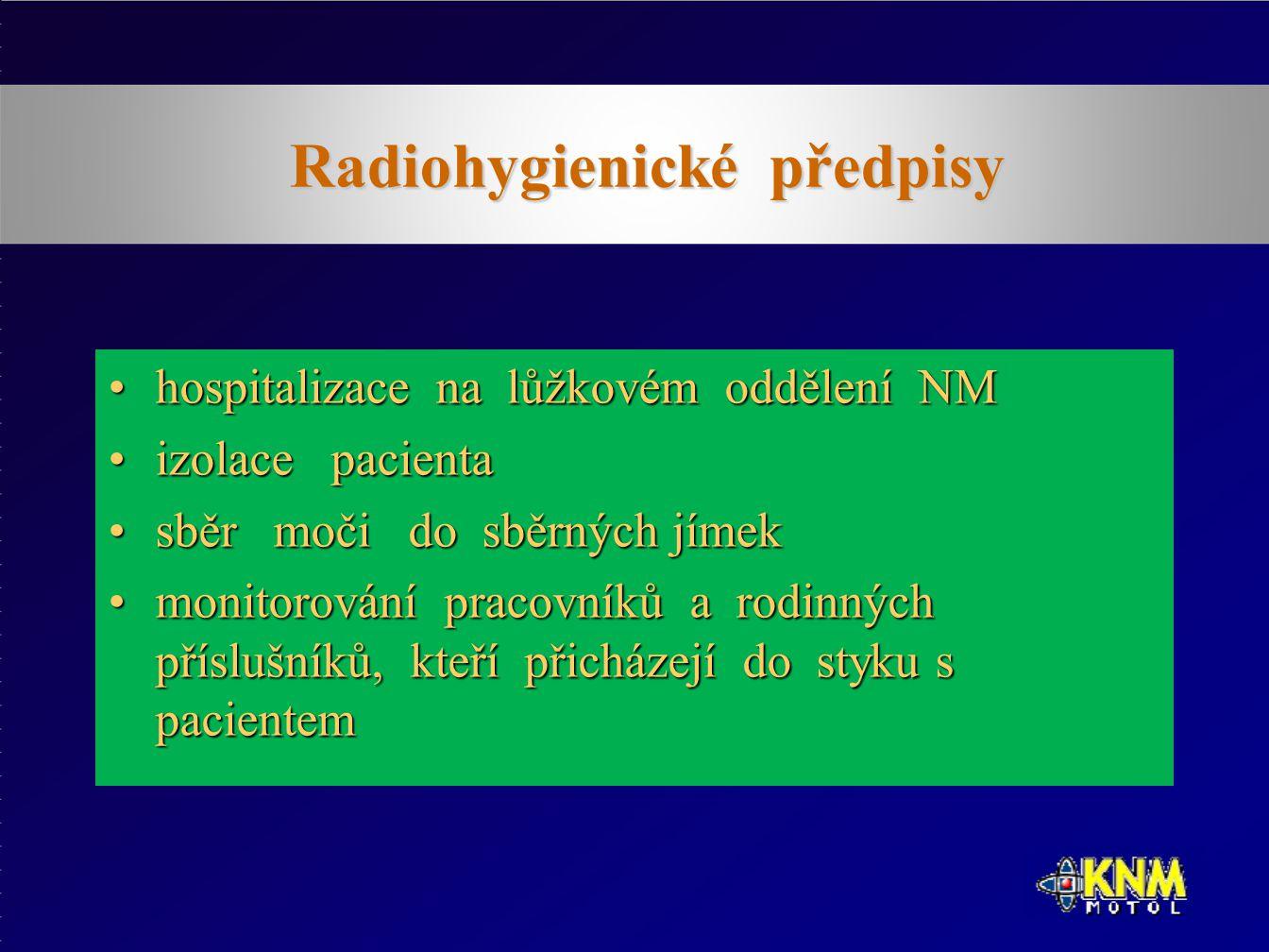 Radiohygienické předpisy hospitalizace na lůžkovém oddělení NMhospitalizace na lůžkovém oddělení NM izolace pacientaizolace pacienta sběr moči do sběrných jímeksběr moči do sběrných jímek monitorování pracovníků a rodinných příslušníků, kteří přicházejí do styku s pacientemmonitorování pracovníků a rodinných příslušníků, kteří přicházejí do styku s pacientem
