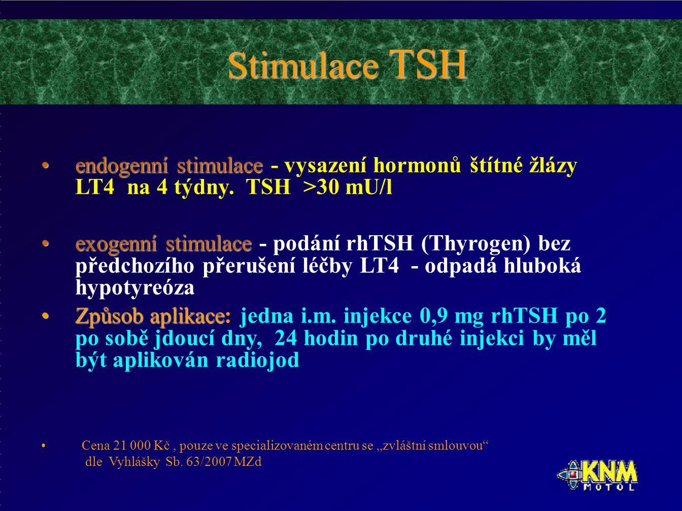 Stimulace TSH endogenní stimulaceendogenní stimulace - vysazení hormonů štítné žlázy LT4 na 4 týdny.
