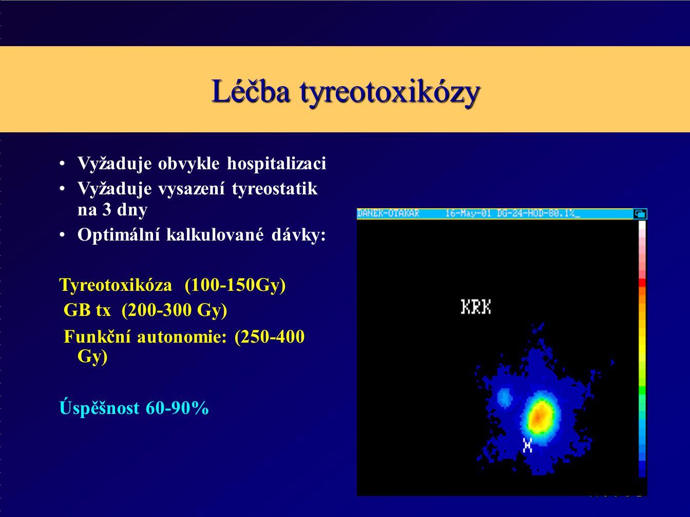 Léčba tyreotoxikózy Vyžaduje obvykle hospitalizaci Vyžaduje vysazení tyreostatik na 3 dny Optimální kalkulované dávky: Tyreotoxikóza (100-150Gy) GB tx (200-300 Gy) Funkční autonomie: (250-400 Gy) Úspěšnost 60-90%