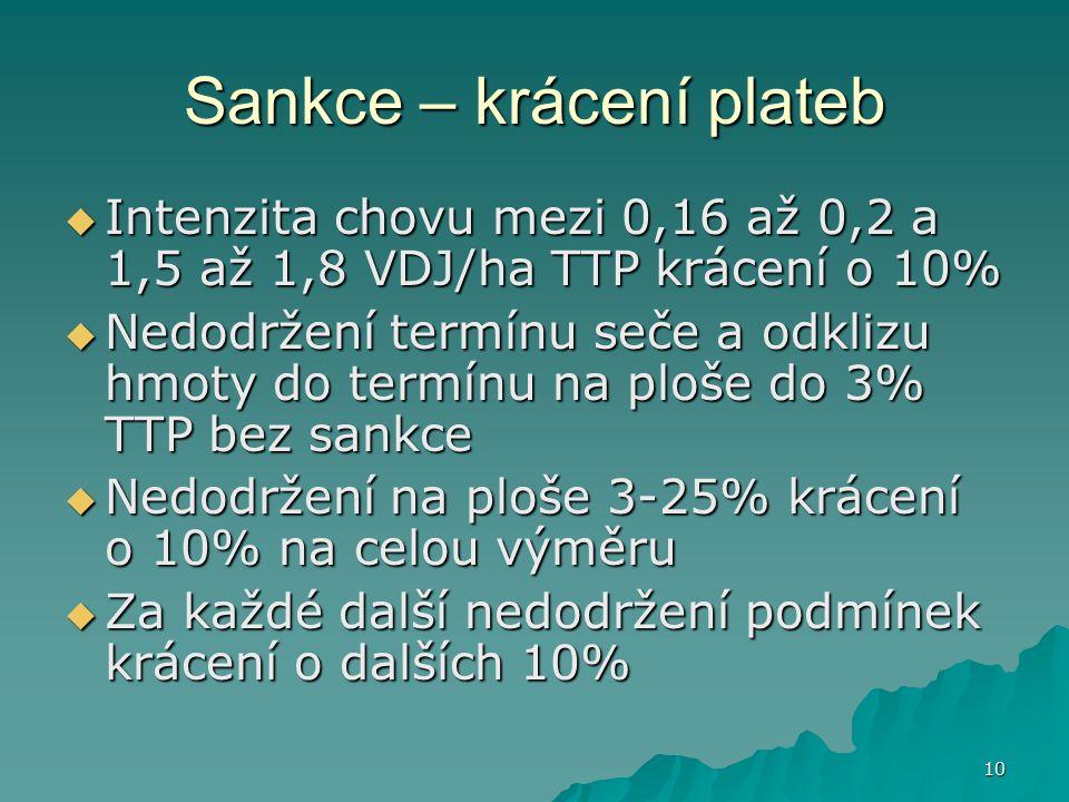 10 Sankce – krácení plateb  Intenzita chovu mezi 0,16 až 0,2 a 1,5 až 1,8 VDJ/ha TTP krácení o 10%  Nedodržení termínu seče a odklizu hmoty do termí