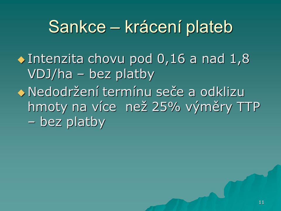 11 Sankce – krácení plateb  Intenzita chovu pod 0,16 a nad 1,8 VDJ/ha – bez platby  Nedodržení termínu seče a odklizu hmoty na více než 25% výměry T